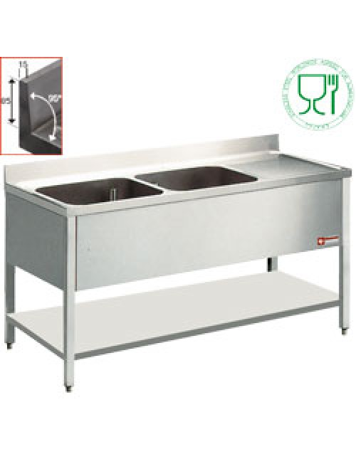 L1621D SS Benchtop With 2 Sink Tubs And Right Drain Surface