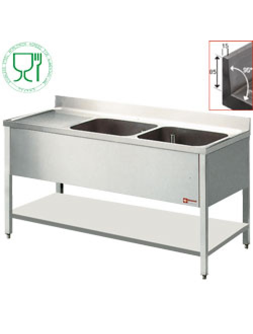 L1621S SS Benchtop With 2 Sink Tubs And Left Drain Surface