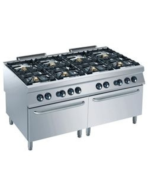G22/8BF16-AGA Dual Gas Ovens GN 2/1 With 8 Burner Gas Stove