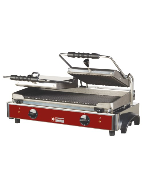 GR82 Dual Electric Panini Grill with Ribbed Plates