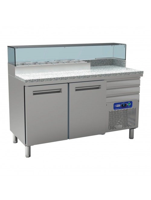 MR-PIZZA/CP Cooling Table For Pizzeria, 2 Doors 600X400
