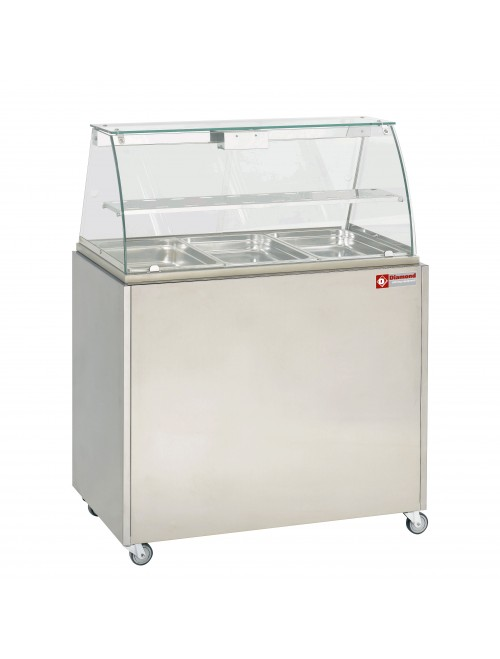 VBE-311 Panoramic Bain Marie Warmer with MEX-RG3 Support Trolley